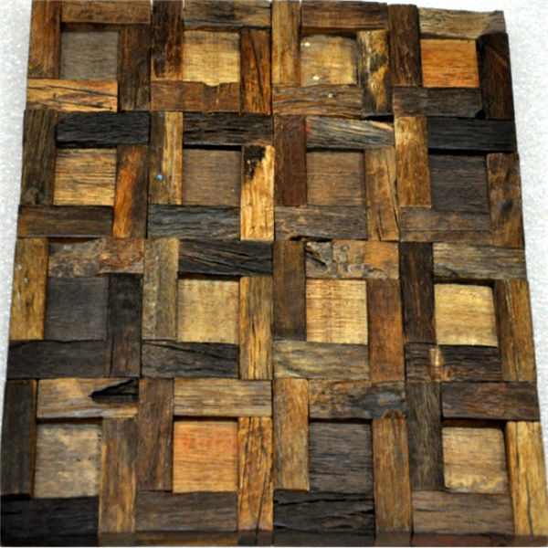 Handmade Reclaimed Wood Wall Panels Natural Pattern For Coffee Shop / Bar